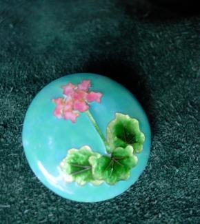 Handmade enamelled geranium Brooch