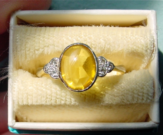Art Deco 18k and Platinum Buff Cut Citrine Ring with Diamond Accents