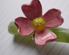 Ceramic Dogwood Flower and Sterling Silver Ring