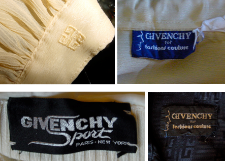 Examples of Givenchy labels and logos