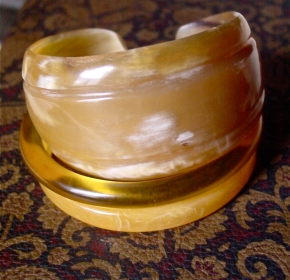 Blond Carved Horn Bangle