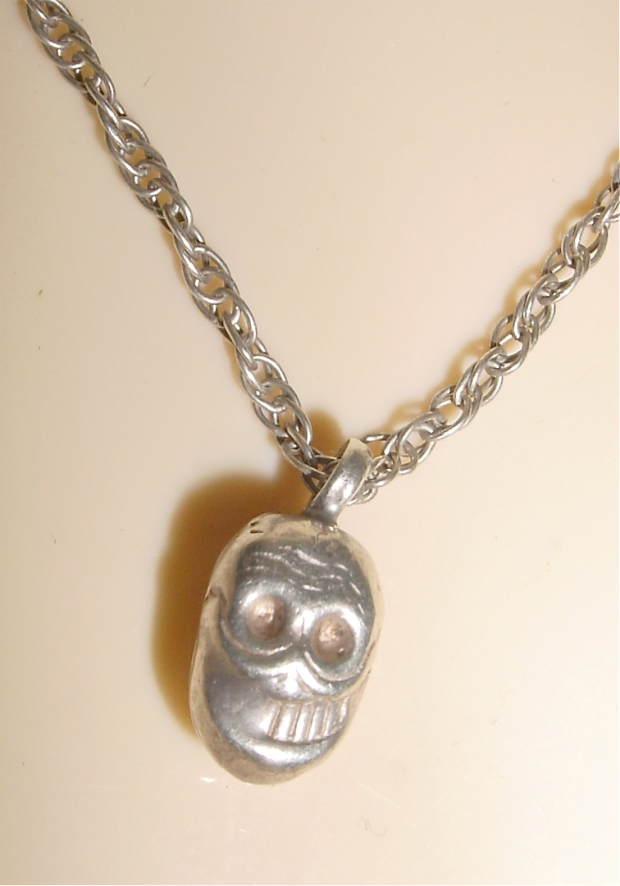 Mexican Silver Sugar Skull Pendant