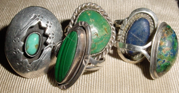 A selection of Native American rings