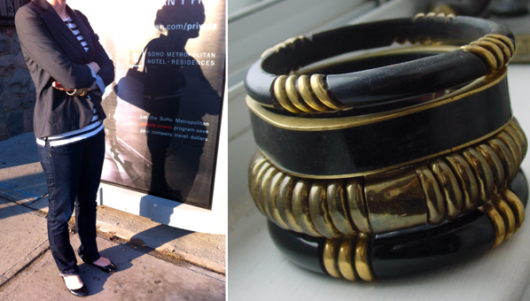 Brass bangle  Horn and Brass bracelets