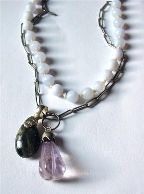 Blue Lace Agate Necklace, Labradorite and Amethyst Pendants