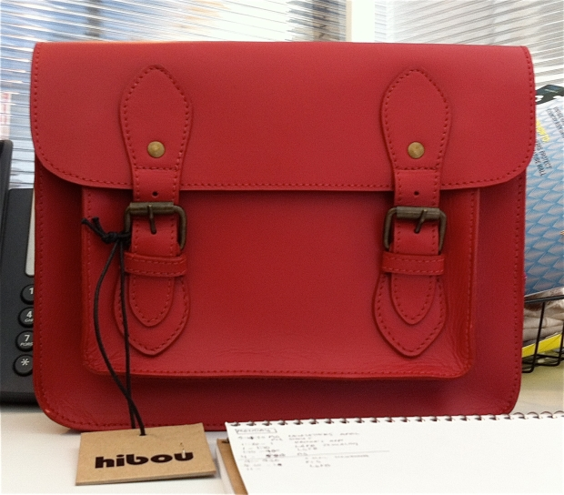 Red leather Satchel purse by Hibou