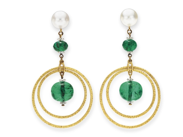 Huguette Clark Cartier Emeral Pearl Diamond Earrings