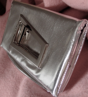Silver Lamé Thierry Mugler Clutch