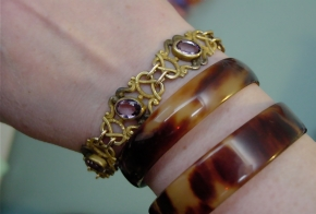 Victorian Love Knot Pink Paste Bracelet and Tortoiseshell Bangles