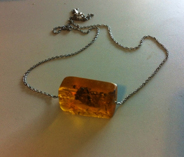 amber bead on sterling chain necklace