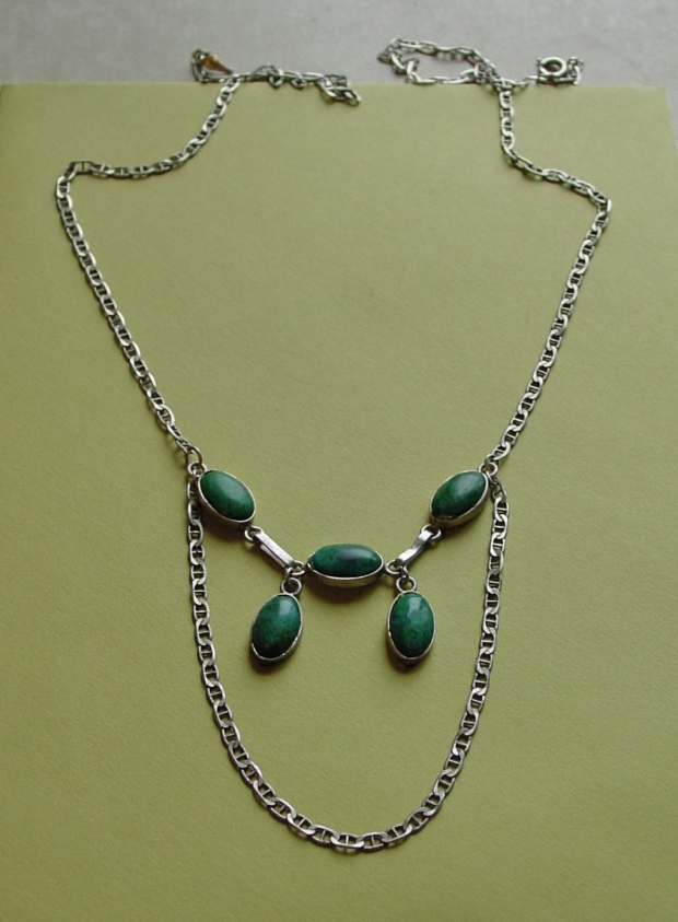 Upcycled Turquoise Cabochon and Mariner Link Chain Necklace