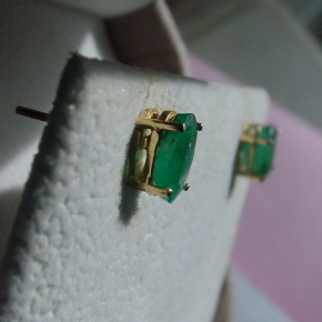 Columbian emerald stud earrings
