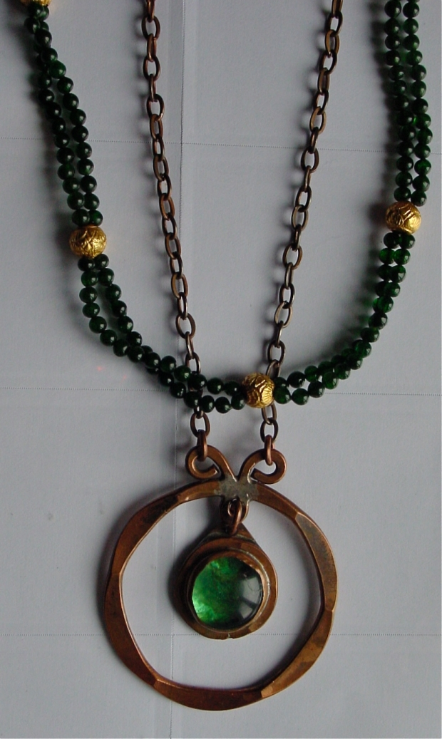 Copper and Green Murano Glass Rafael Alfandry Pendant green bead necklace