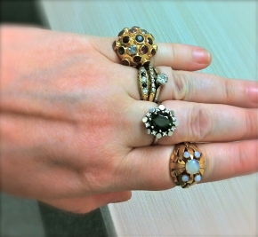 H. Stern Sputnik, diamonds, sapphires, tourmaline and opals rings