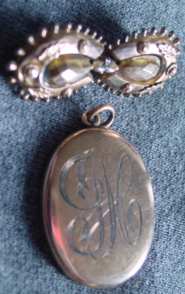 Victorian earrings converted into a brooch and Edwardian Locket