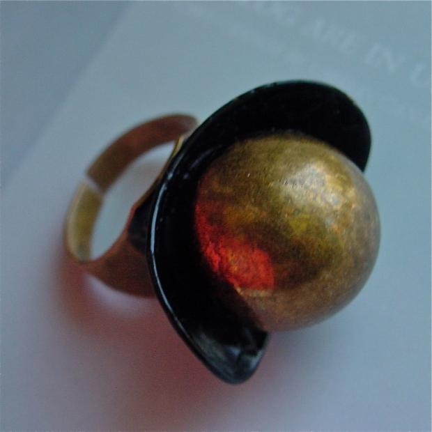 Bronze and enamel Modernist Ring