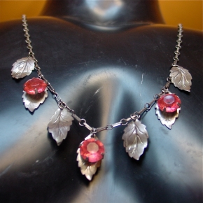 Sterling and pink stone leaf necklace