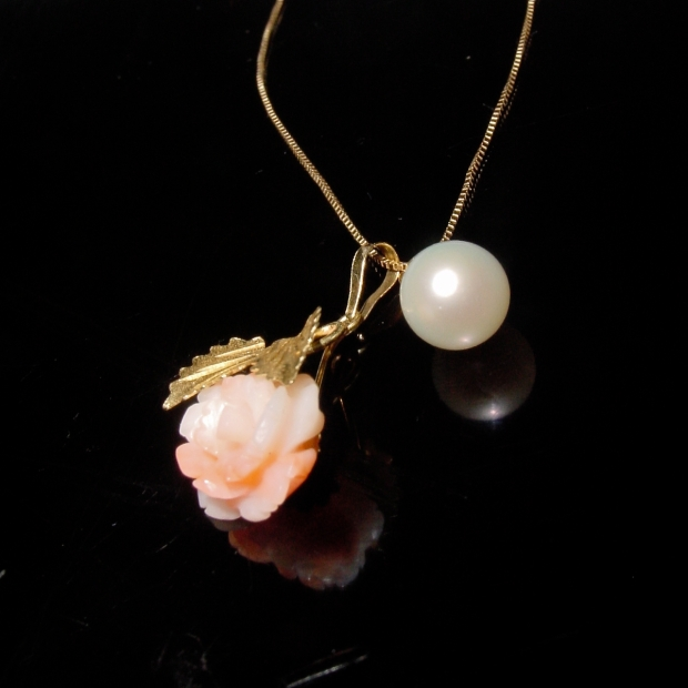 18K carved coral rose pendant with pearl