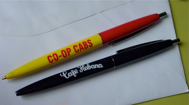 Co-Op Cabs and Café Habana Bic Pens
