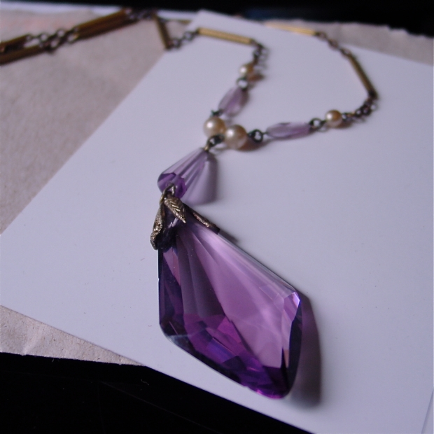 Amethyst Glass Art Deco Necklace