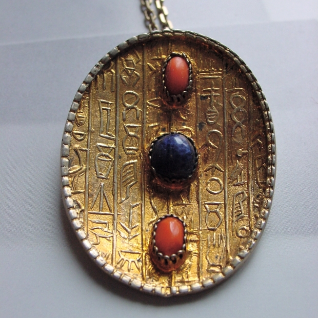 Egyptian GIlt Silver Coral and Lapis Pendant