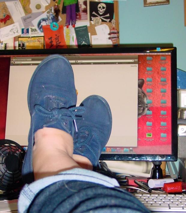 vintage blue canvas shoes