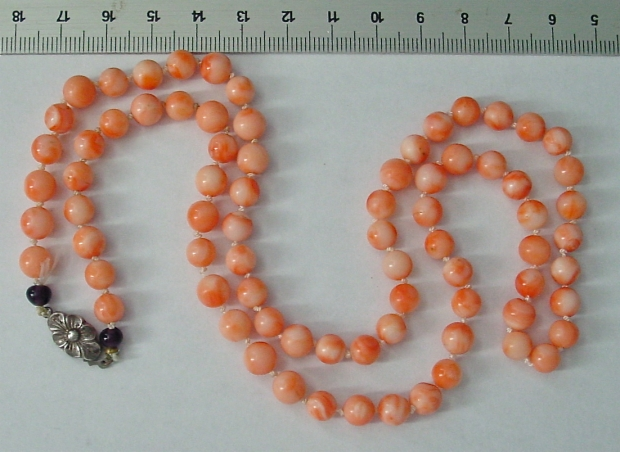 knotted coral bead necklace