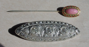 Art Deco brooch and Egypytian Revival stick Pin