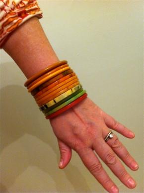 Stacks of bakelite bracelets