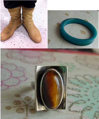Roots Leather Boots Nylon Bangle N.E. From Tiger Eye Ring