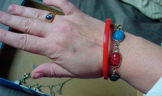 Vintage scarab bracelet and bakelite bangle