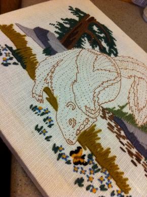 Unfinished skunk needlepoint