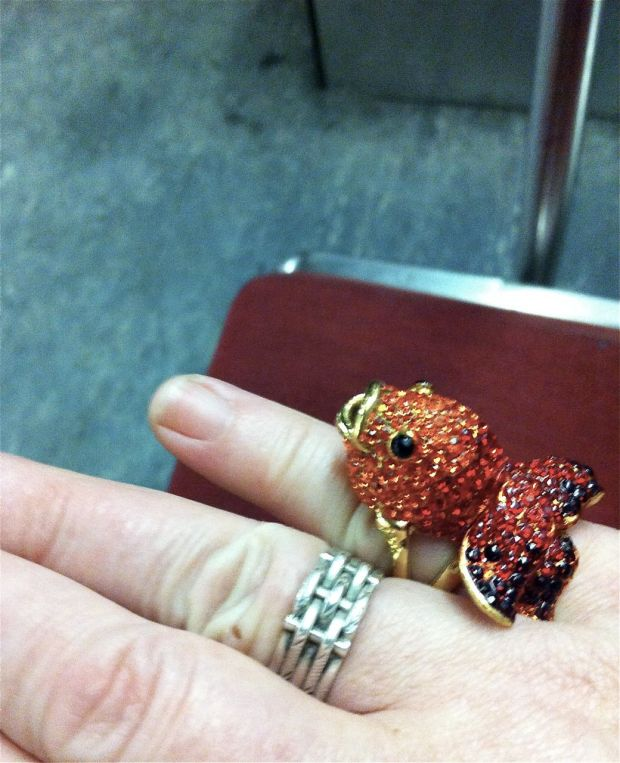 Victorian ring and Rhinestone Fish Ring