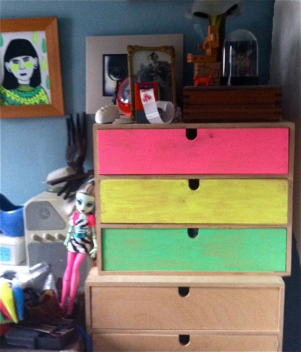 Day Glo Tempera painted drawers