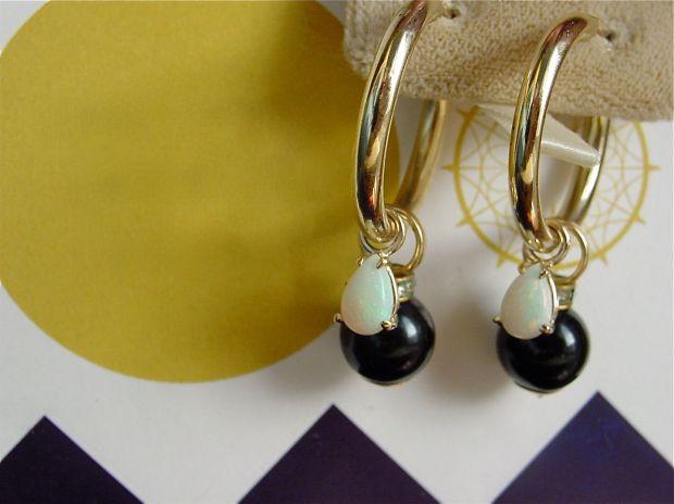 opal ear pendants