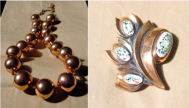 Copper Vendome Necklace and Renoir Brooch