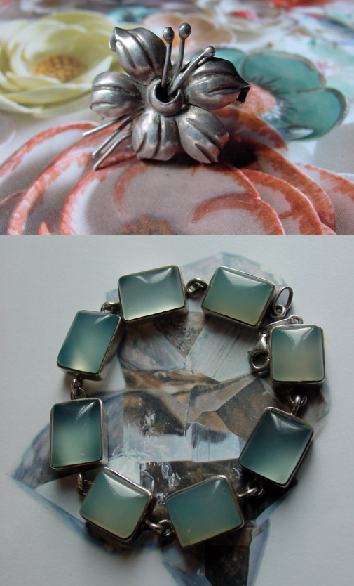 Early Taxco Hibiscus Flower RIng and Chalcedony Bracelet