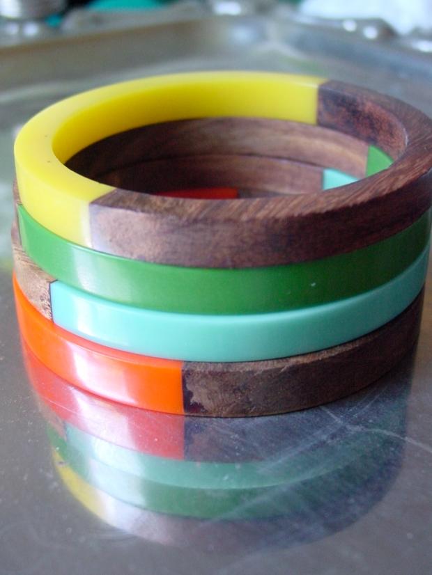 Wood and Plastic Bangles