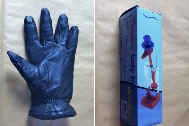 leather touch screen gloves and drinking bird