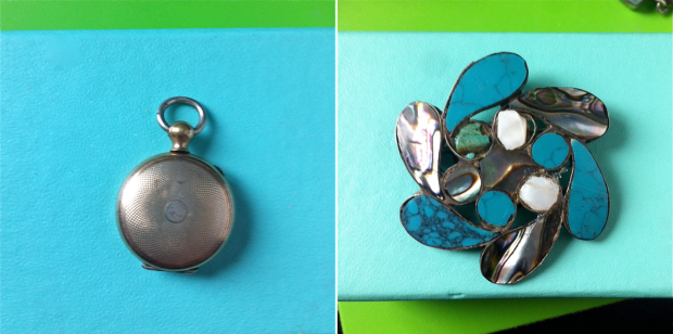 Gold filled Watch fob locket and Taxco Brooch