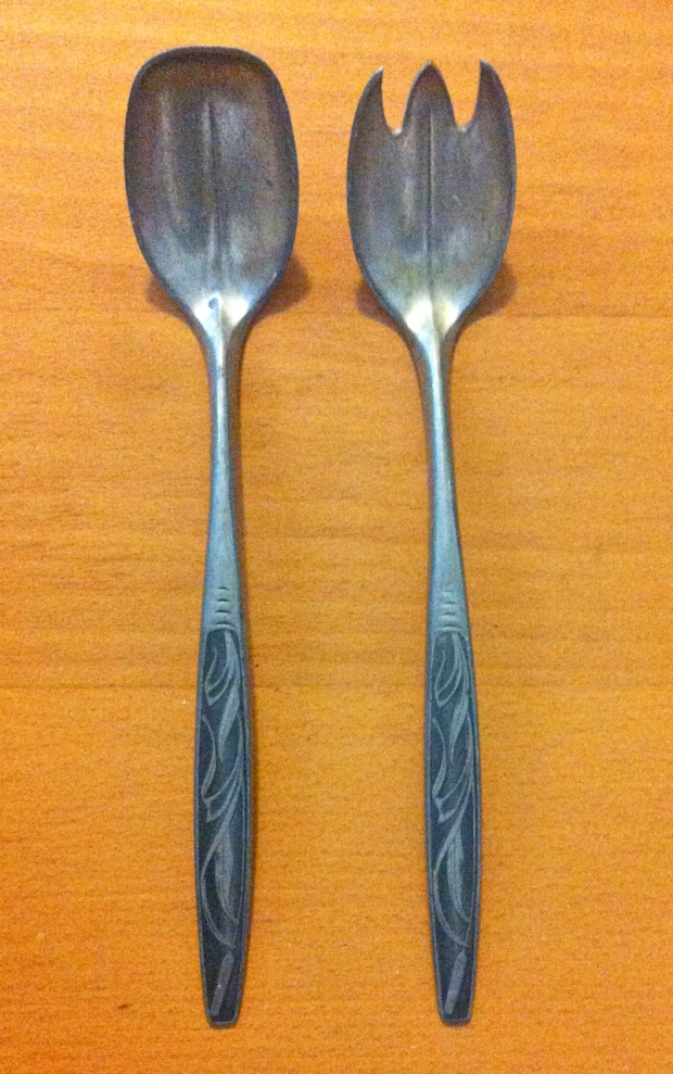 Norway Pewter Serving Spoon and Fork