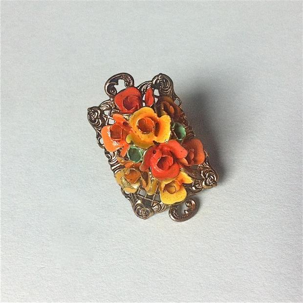 1930s enamel flower ring