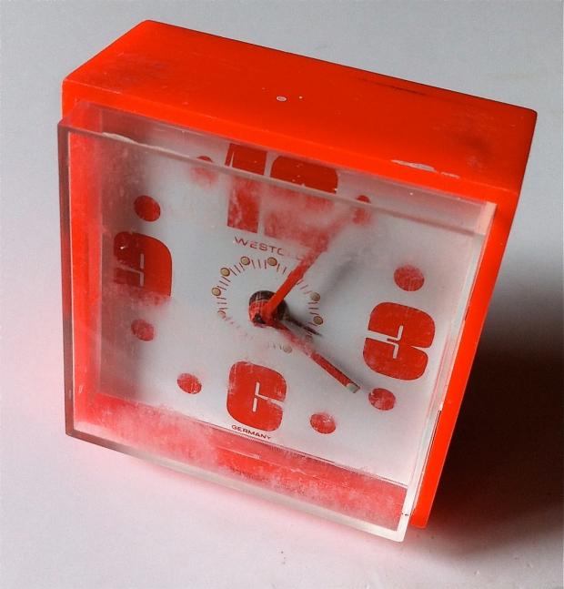 Westclox Plastic Mod Orange travel alarm