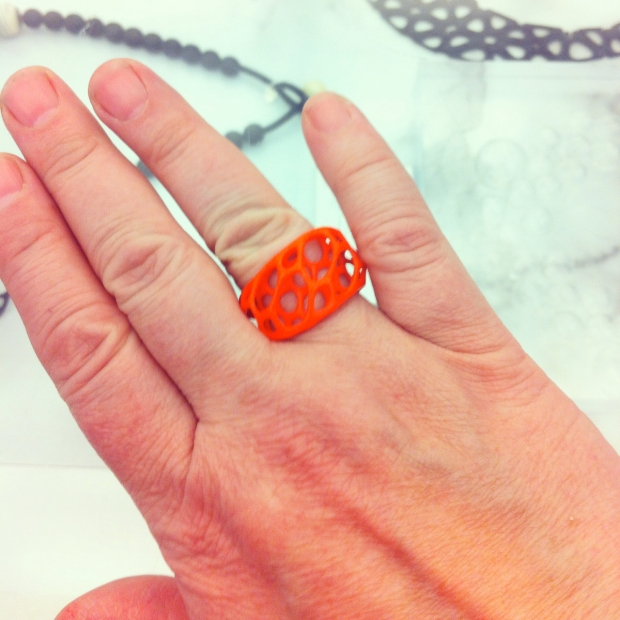 Coral Red Wave Ring