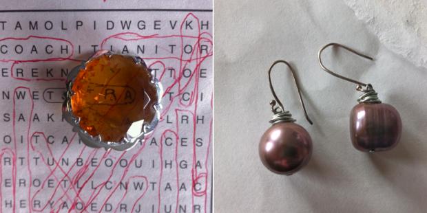 Mizpah brooch and baroque pearl earrings