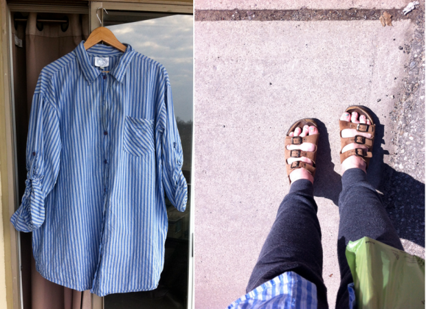 striped blouse and birkenstocks