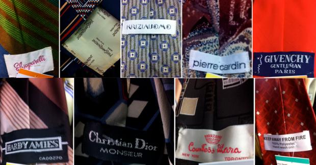 Scrvintage mens tie labels