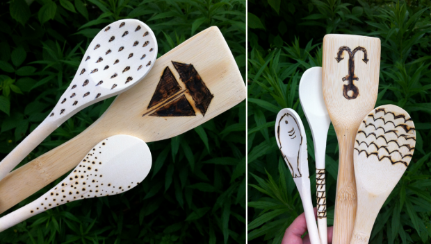 wood burning wooden spoons