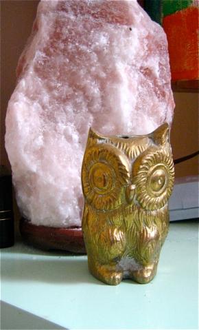 brass owl incense holder
