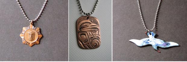copper pendant silver ball chain